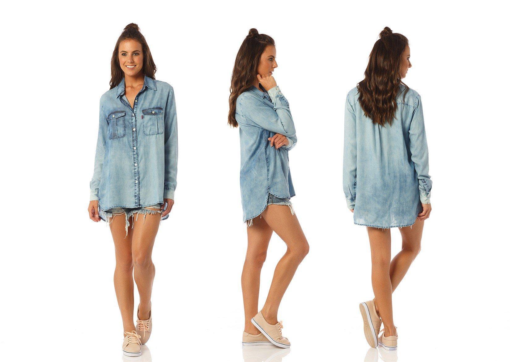 camisa feminina oversize com marcacao dz11100 denim zero descricao