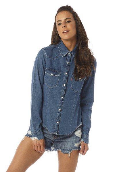 camisa feminina ajustada estonada dz11103 frente proximo denim zero