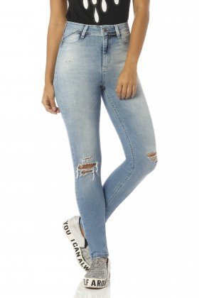 calca skinny cintura alta puidos dz2422 frente perto denim zero