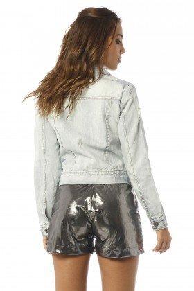 jaqueta feminina jeans claro e rasgos dz9066 costas proximo denim zero