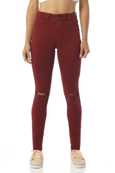calca color skinny media burgundy rasgos dz2392 frente proximo denim zero