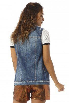 colete feminino bolso embutido detonado dz9065 costas proximo denim zero