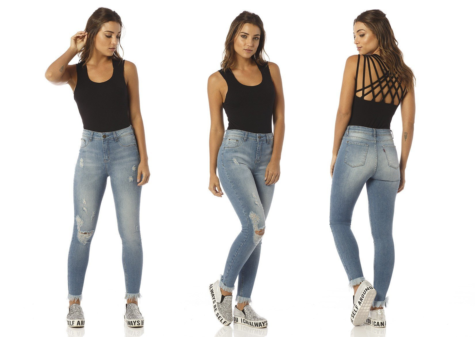 calca skinny cropped media detonada dz2412 denim zero descricao