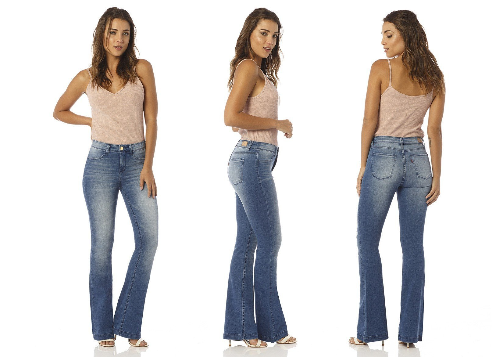 calca flare media escura dz2439 denim zero descricao