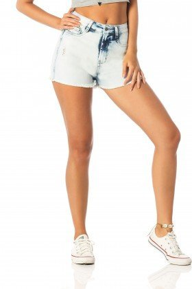 shorts feminino pin up claro dz6207 frente proximo denim zero