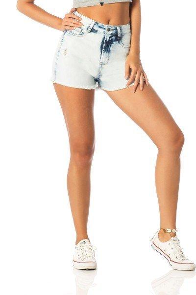 shorts feminino pin up claro dz6207 frente proximo denim zero