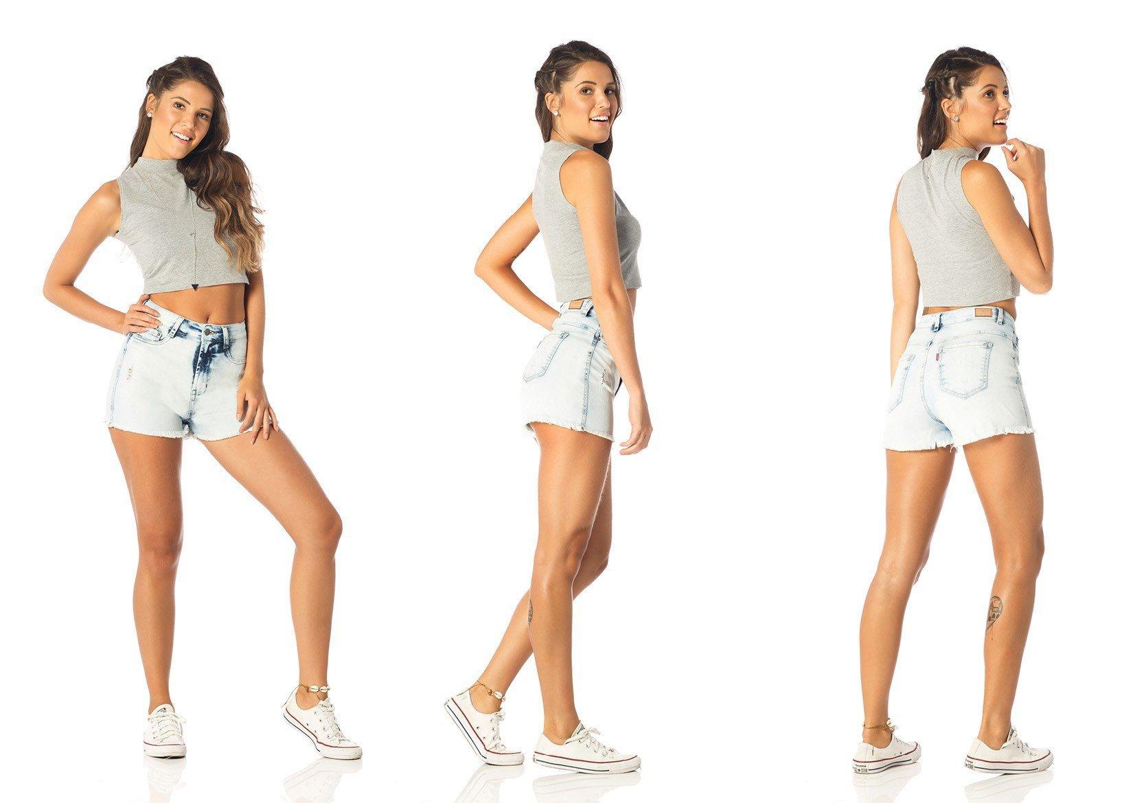 shorts feminino pin up claro dz6207 tripla denim zero