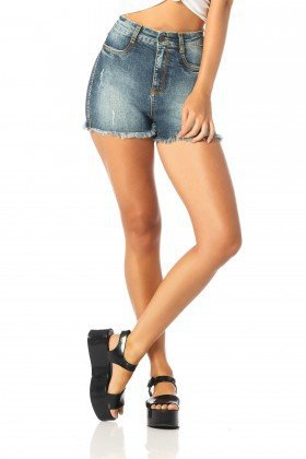 shorts feminino pin up estonado dz6216 frente proximo denim zero