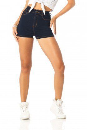 shorts feminino pin up escuro dz6205 frente proximo denim zero
