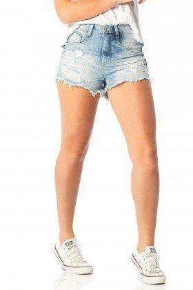 shorts feminino setentinha puidos dz6203 frente proximo denim zero