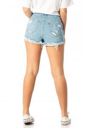 shorts feminino setentinha puidos dz6201 costas proximo denim zero