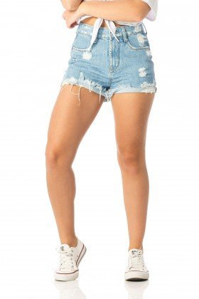 shorts feminino setentinha puidos dz6201 frente proximo denim zero