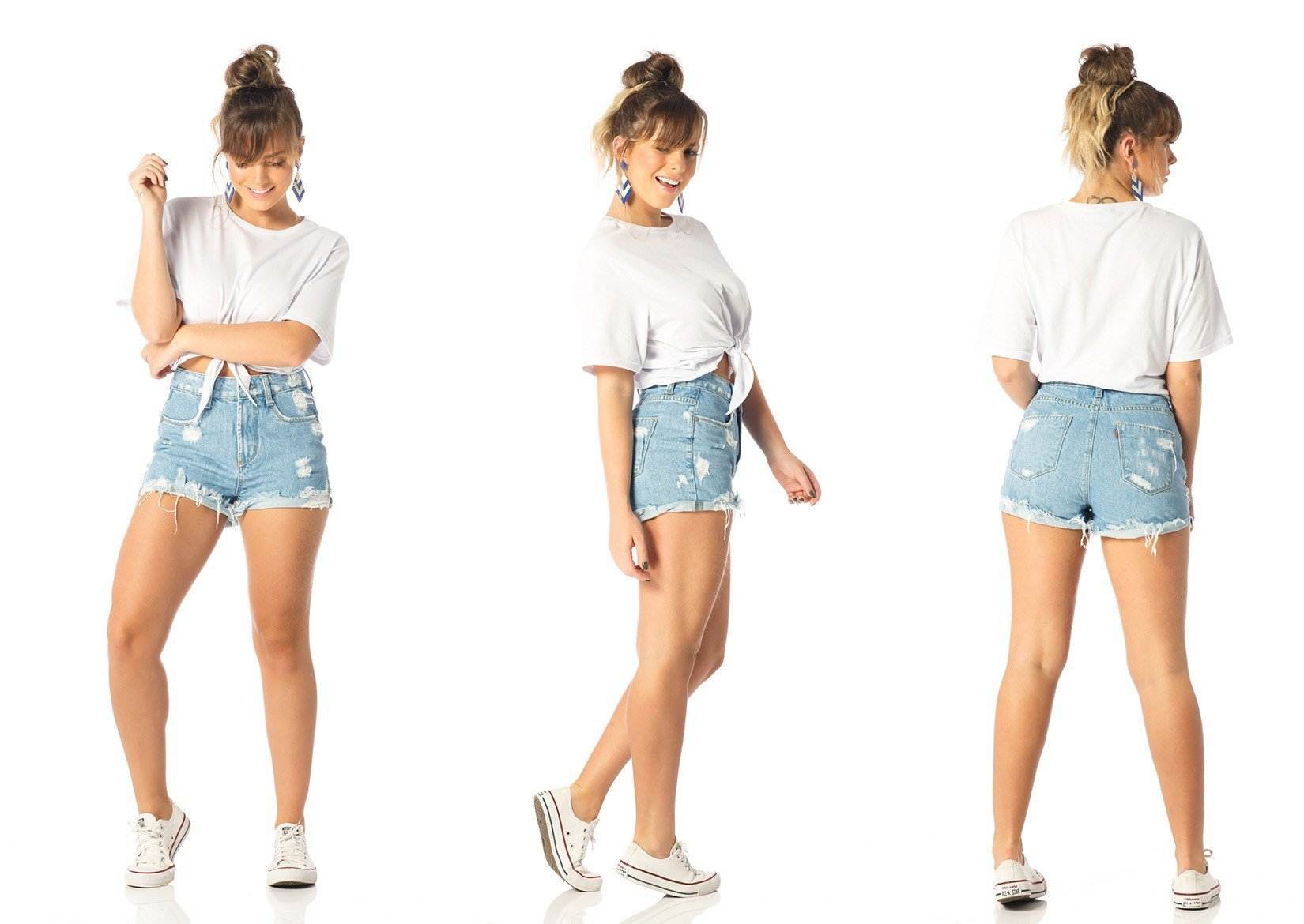 shorts feminino setentinha puidos dz6201 tripla denim zero