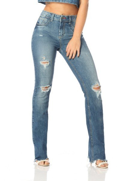 calca boot cut barra irregular dz2514 frente proximo denim zero