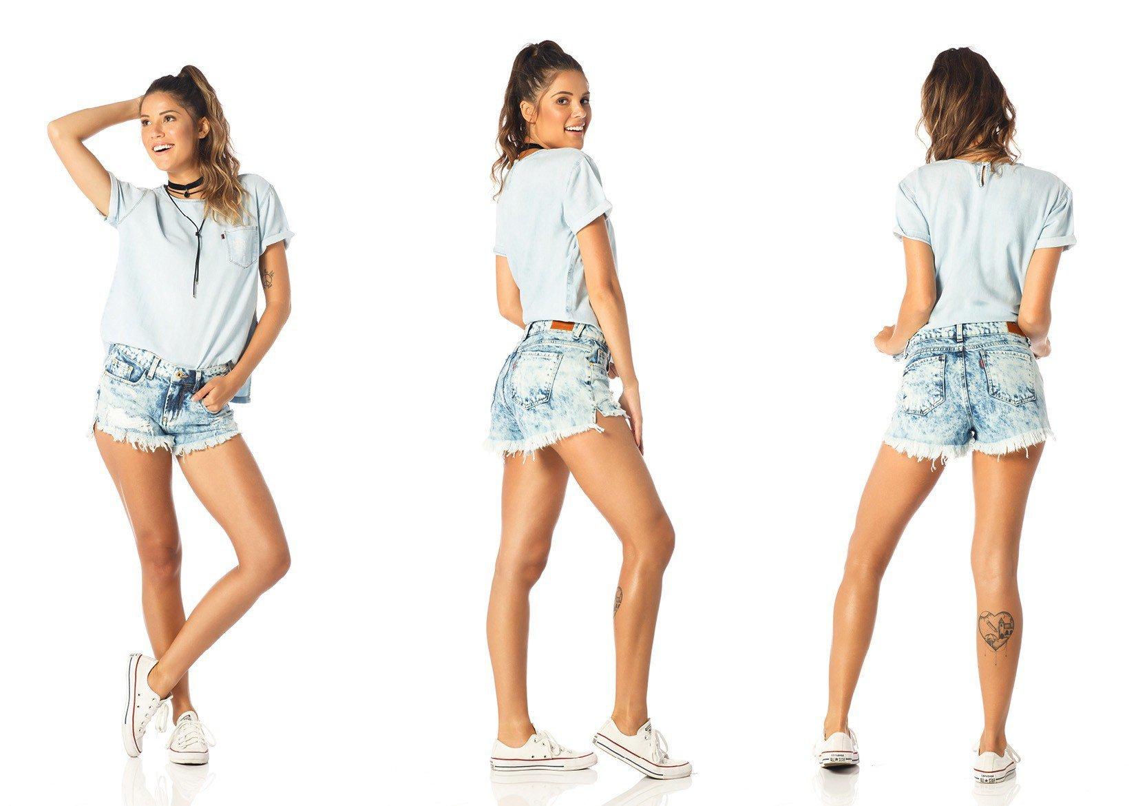 shorts feminino young marcacao dz6199 tripla denim zero