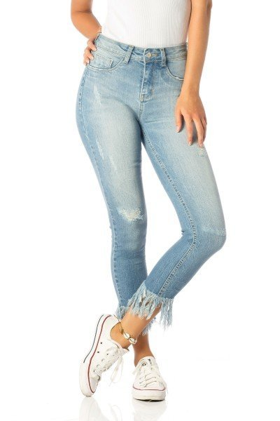 calca skinny media cropped franjas dz2533 frente proximo denim zero