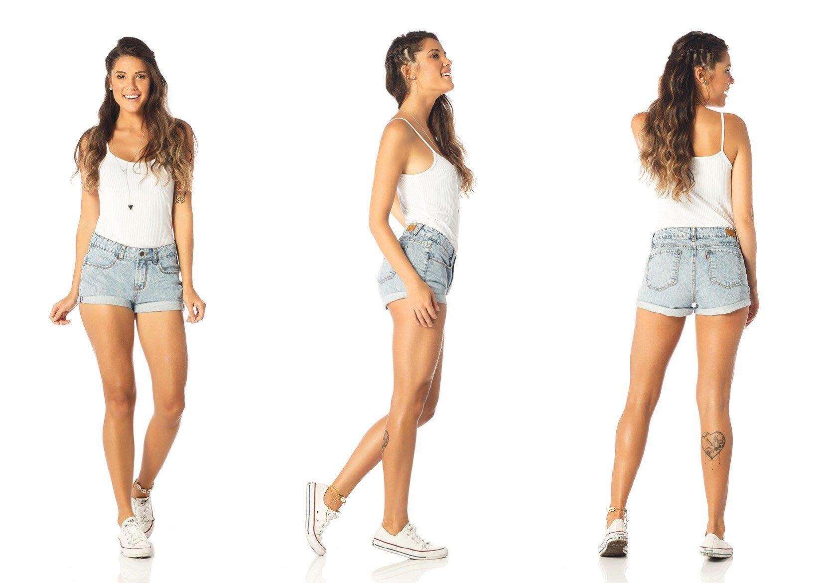 shorts feminino young barra dobrada dz6197 tripla denim zero