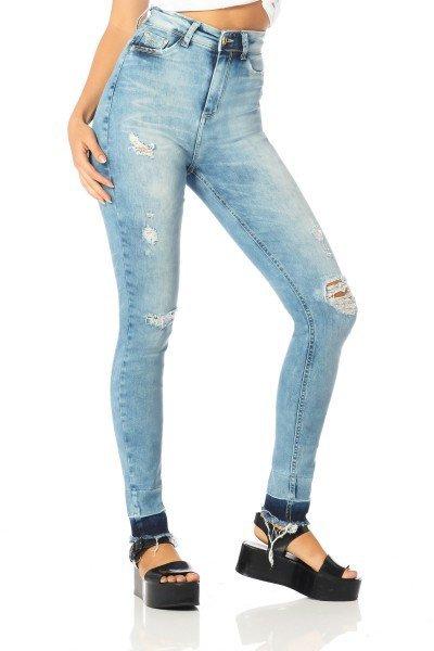 calca skinny hot pants barra escura dz2523 frente proxima denim zero