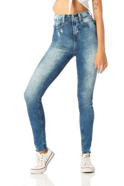 calca skinny hot pants barra corte a fio dz2521 frente proximo denim zero