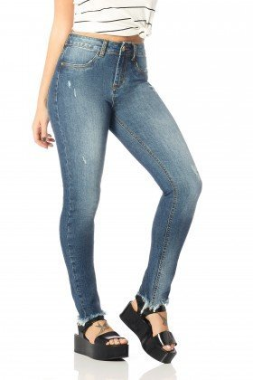 calca skinny media desfiada dz2548 frente proxima denim zero