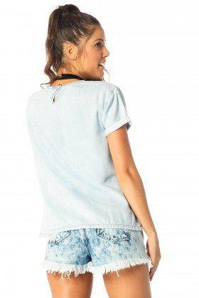 blusa feminina manga curta clara dz11113 costas proximo denim zero