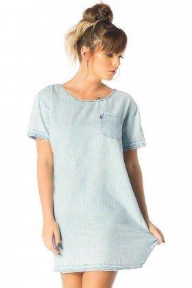 vestido feminino curto jeans claro dz12080 frente proximo denim zero