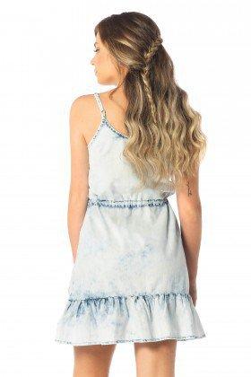 vestido feminino curto babados jeans claro dz12081 costas proxima denim zero