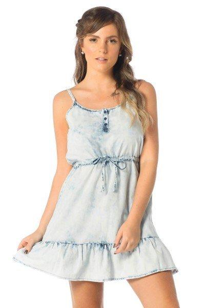 vestido feminino curto babados jeans claro dz12081 frente proximo denim zero
