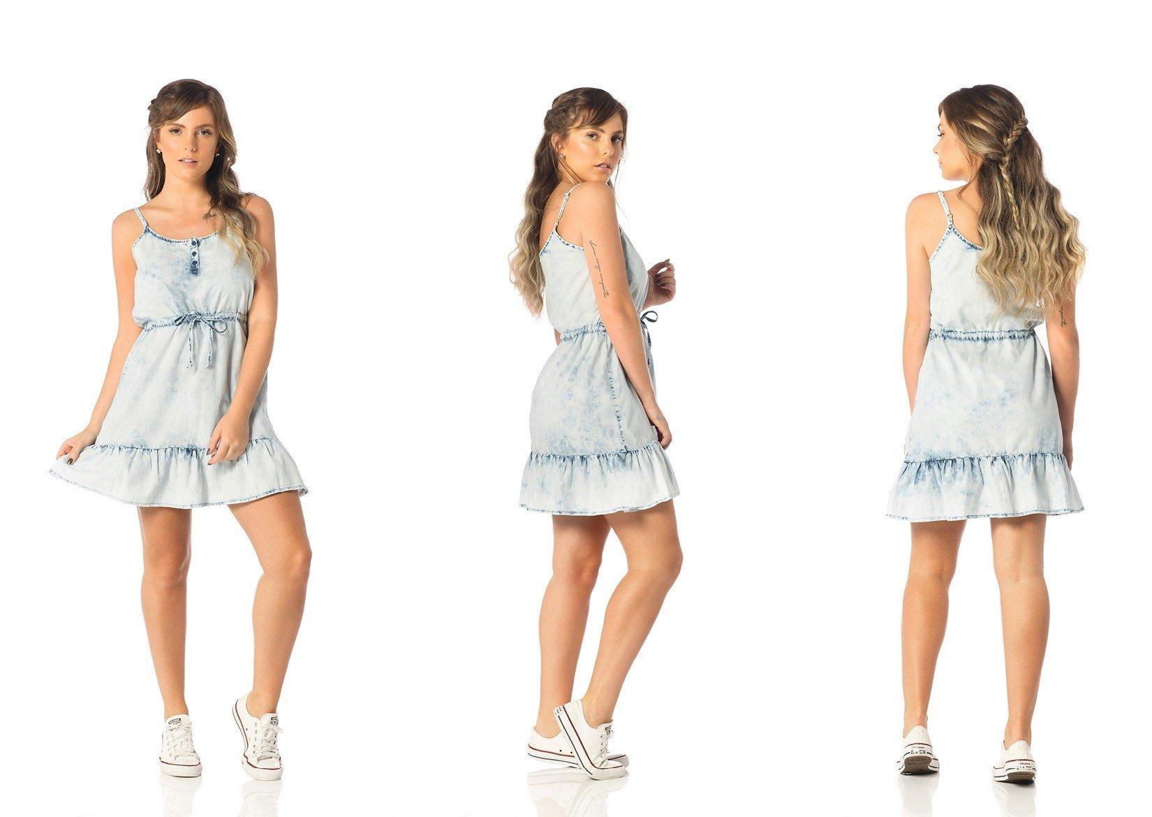 vestido feminino curto babados jeans claro dz12081 tripla denim zero