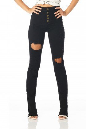 calca boot cut hot pants preto dz2140 frente proxima denim zero