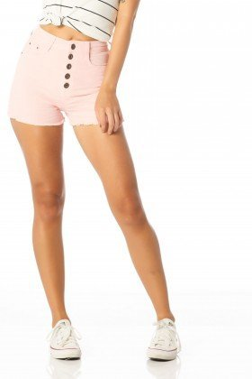 shorts feminino pin up rosa quartz dz6167 frente proximo denim zero