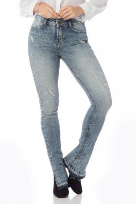 calca new boot cut media com fenda dz2628 frente proximo denim zero