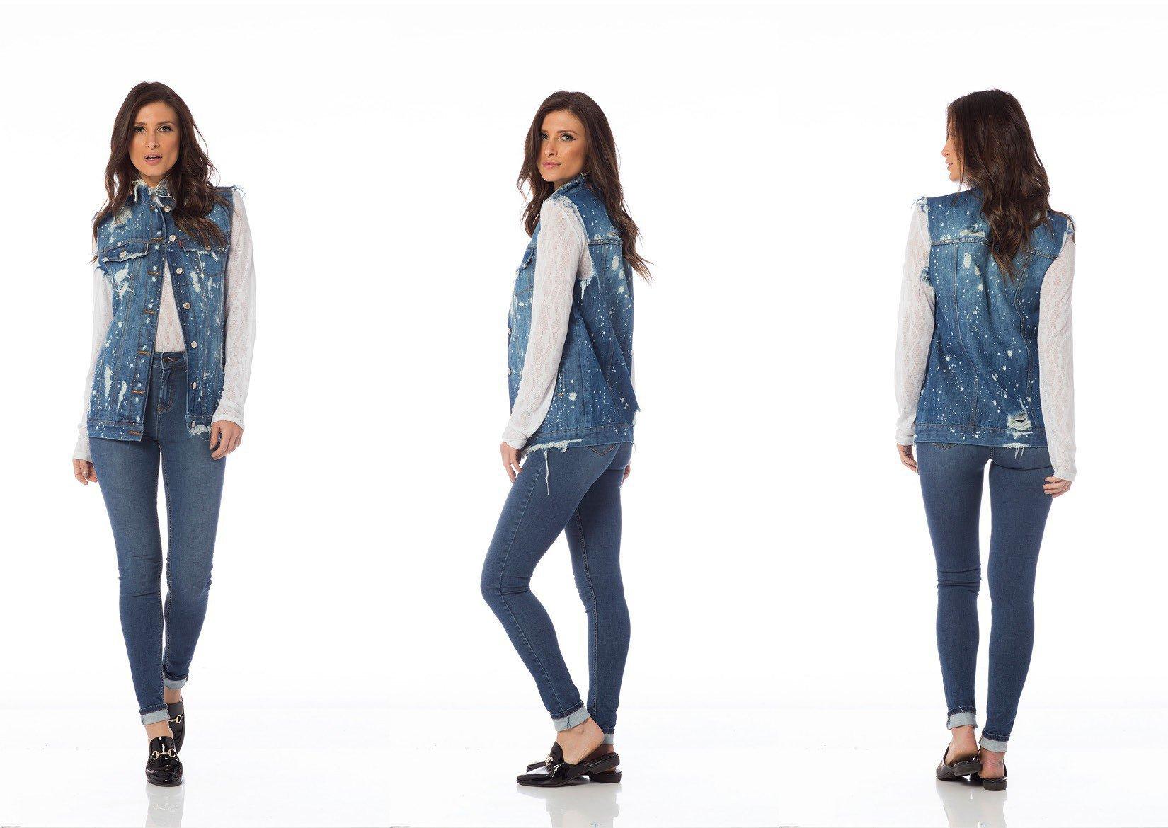 colete jeans oversize puidos dz9074 tripla denim zero