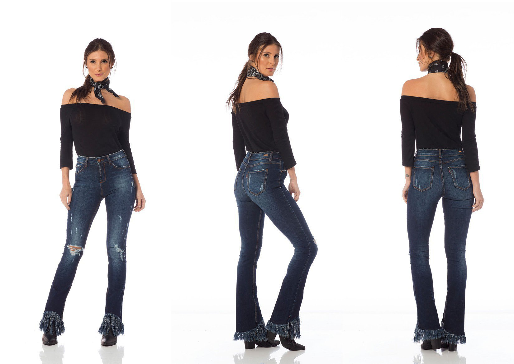 calca skinny media com franjas dz2609 tripla denim zero