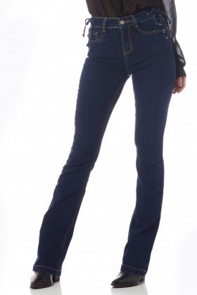 calca boot cut media trancado lateral dz2627 frente proximo denim zero