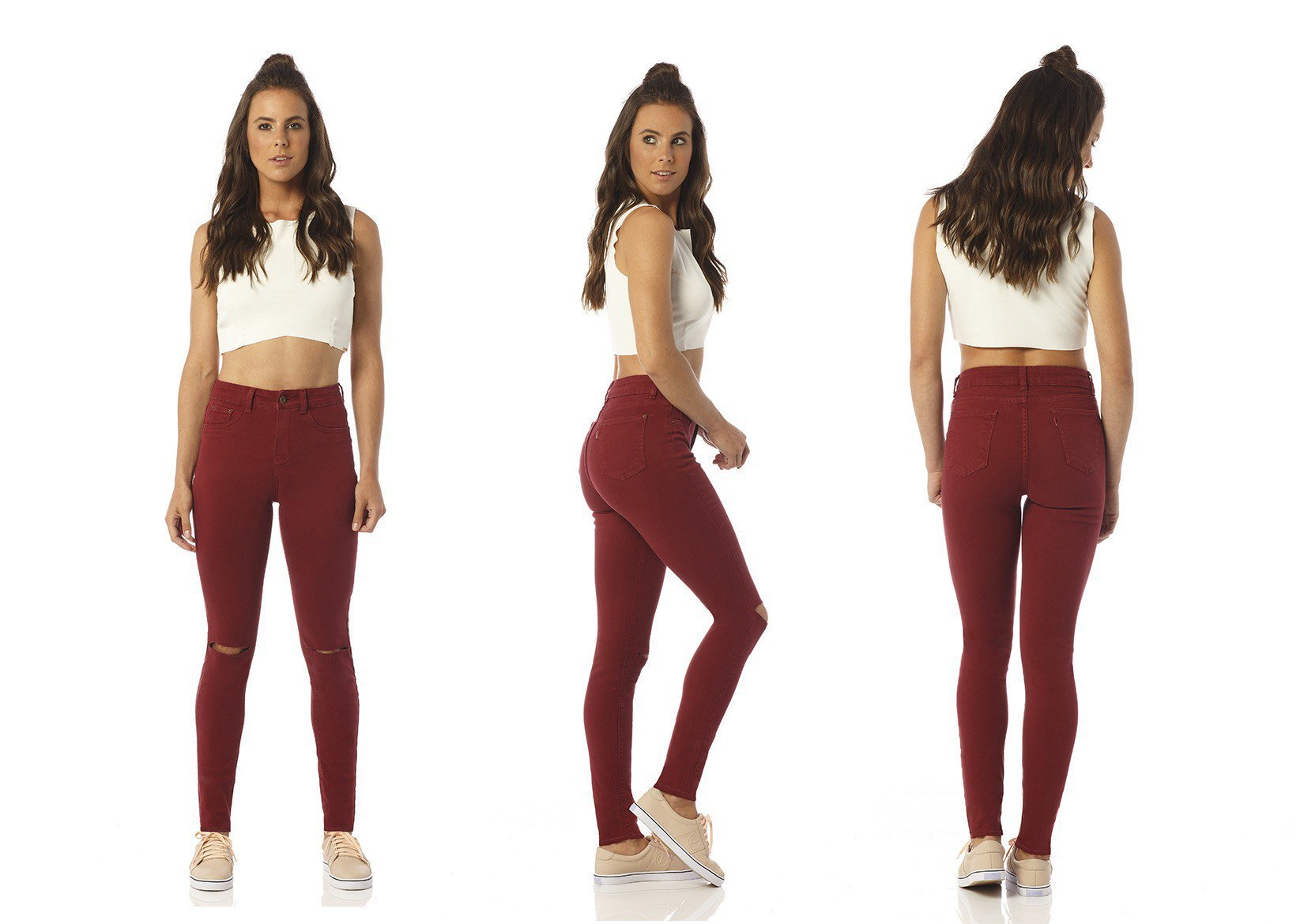 calca color skinny media burgundy rasgos dz2392 denim zero descricao