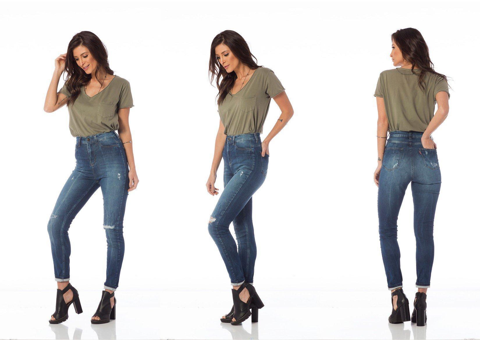 calca skinny hot pants com puidos dz2674 tripla denim zero