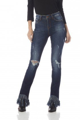 calca skinny media com franjas dz2609 frente proximo denim zero