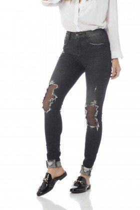 calca skinny media com rasgos dz2635 frente proximo denim zero