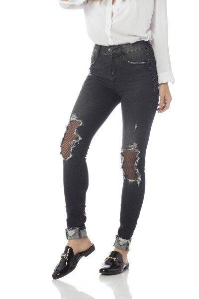 calca skinny media com rasgos dz2635 frente proximo denim zero