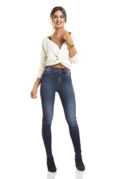 4592f2385ac59 Calça Jeans Feminina Skinny Cintura Alta Estonada - DZ2662