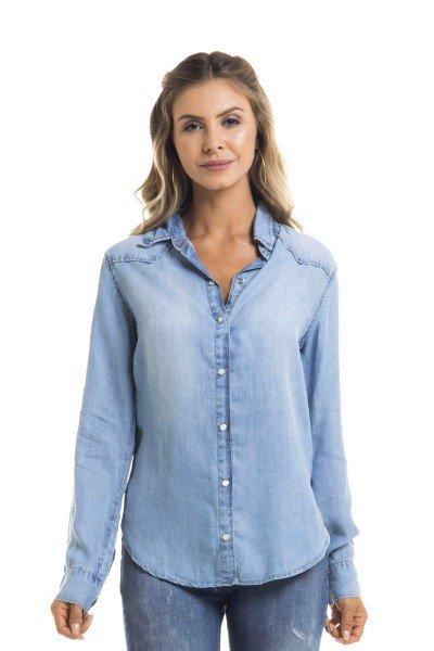 17243d8fb1 Camisa Jeans Feminina Solta Clara - DZ11122