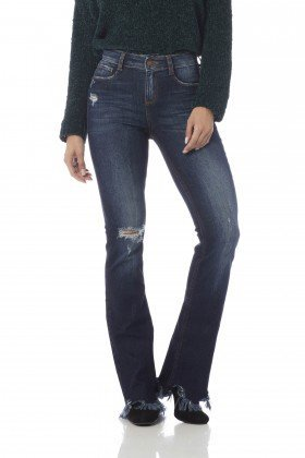 calca boot cut media barra desfiada dz2645 frente proximo denim zero