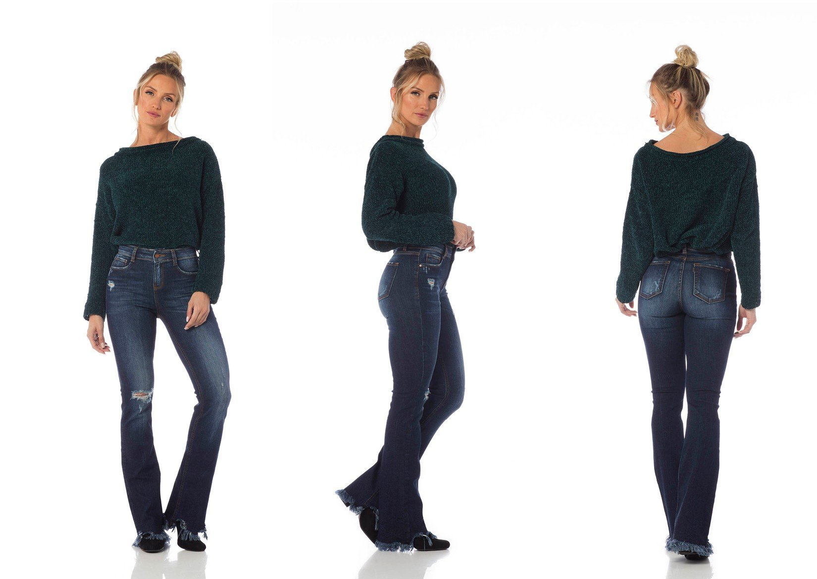 calca boot cut media barra desfiada dz2645 tripla denim zero
