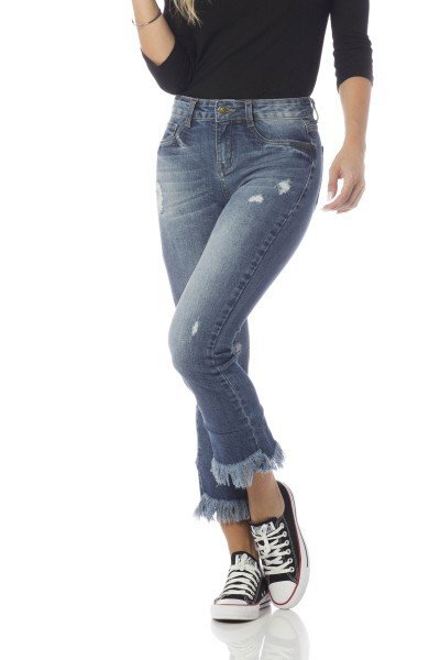 calca boot cut media cropped barra diferenciada dz2648 frente proximo denim zero