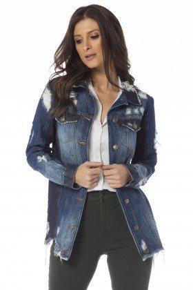 jaqueta jeans oversize com rasgos dz9075 frente proximo denim zero