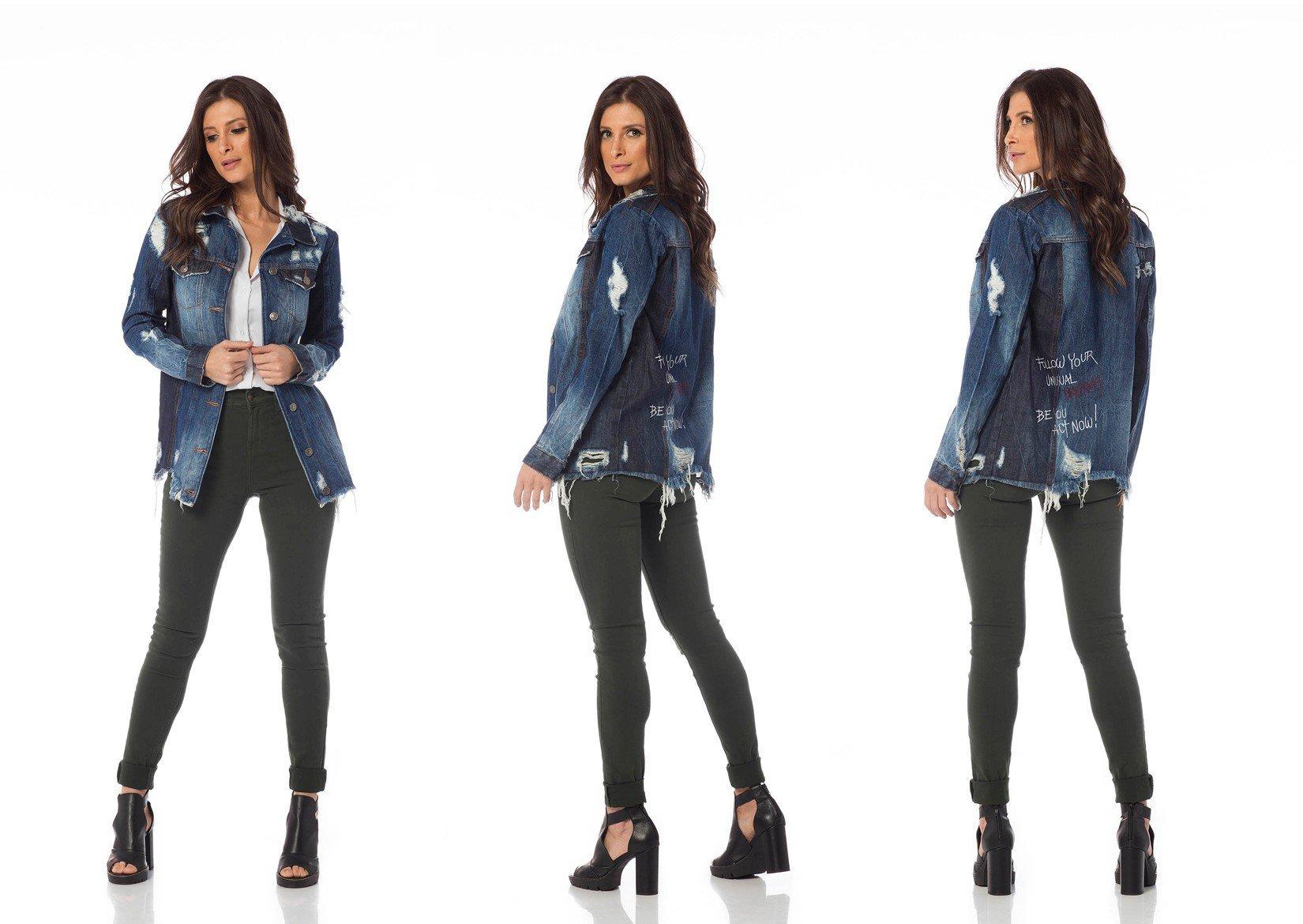 jaqueta jeans oversize com rasgos dz9075 tripla denim zero