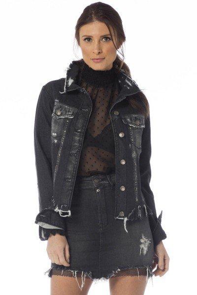 jaqueta jeans feminina preta dz9078 frente proximo denim zero
