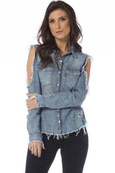 camisa jeans ajustada com rasgos dz11119 frente proximo denim zero