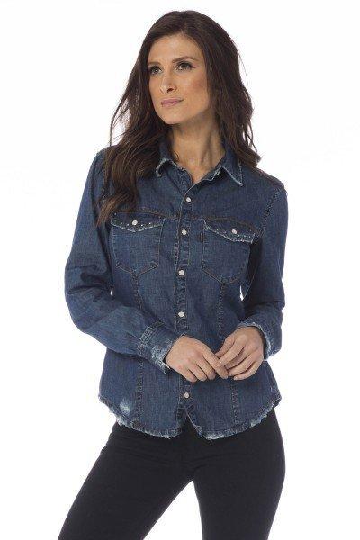 camisa jeans ajustada puidos dz11120 frente proximo denim zero
